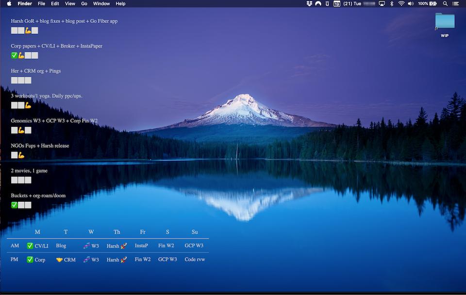 Ubersicht desktop with cal planning