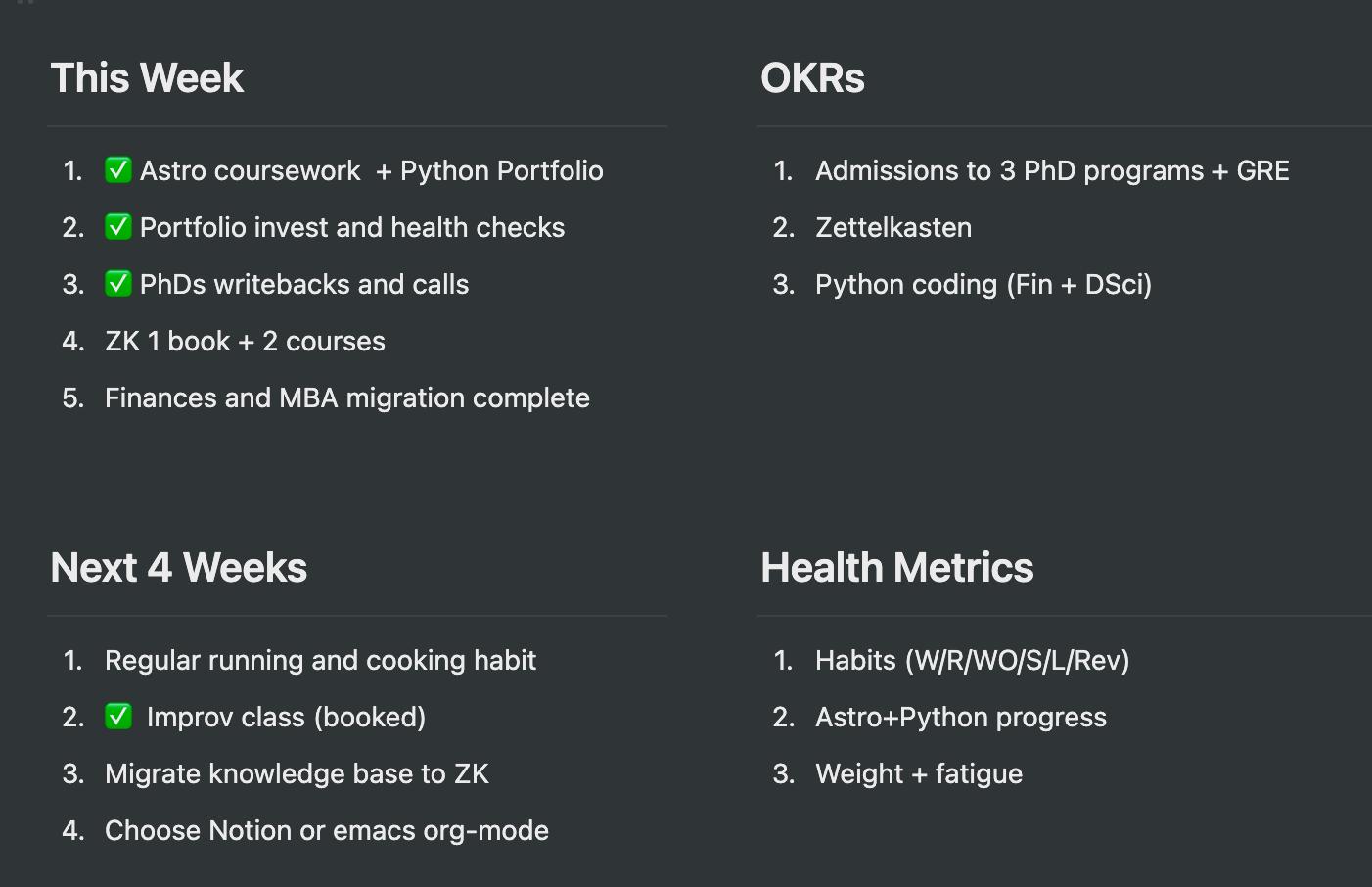 Weekly OKR Quad